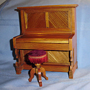 Dollhouse size Wooden Upright Oak Piano and Stool