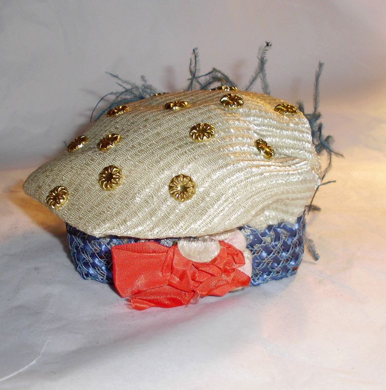 Antique Red White Blue Doll Hat with Feathers