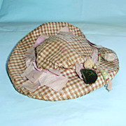 1800's Brown White and Lavender Silk Hat