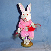 Old White Chenille Rabbit Playing Drum Christmas Ornament