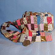 """Strips of Doll Bed Quilt Antique Material 1"""" Calico Sewn 2"""" wide"""