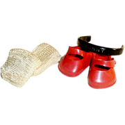 SOLD Red Ginny Doll Shoes Nylon Socks and Headband