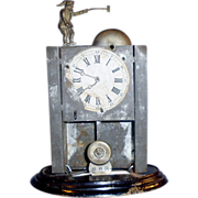4.5 in Tin Windup Toy Doll Size Figural Mantle Clock