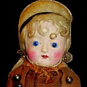 Antique Glass Eye Wax Over Papier Mache Doll