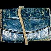 1860s French Fashion Blue Leather Folding Doll Purse