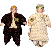 SOLD Antique 1900 All Bisque Dolls Carl Horn Bride and Groom