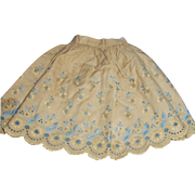 Antique Fancy Embroidered Tan and Blue Doll Half Slip
