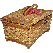 Antique Straw Basket with Red Silk Lining for Doll