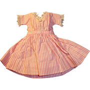 Small Old Pink and White Stripe Cotton Doll Dress