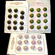 3 Sets on Original Card ofAntique Doll Size Glass Buttons