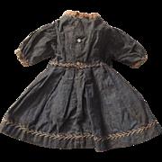 1890 Blue Cotton Shirtwaist Doll Dress