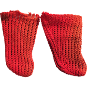 Antique German Factory Made Red Doll Socks