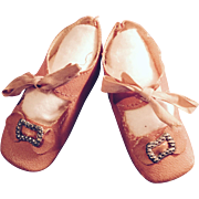 Antique German Pink Oilcloth Doll Shoes
