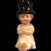 German Bisque Sitting Child Doll In Top Hat