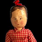 "12"" Grodner Tal German Peg Jointed Wood Doll"