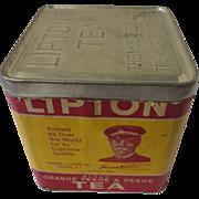 Vintage Lipton Tea Tin with Paper Label