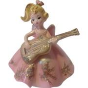 Vintage Josef Figurine Girl in Pink with Guitar