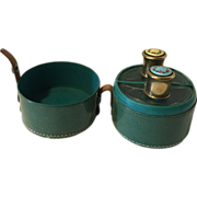Vintage Guilloche Enamel Travel Perfume Set in Leather Case