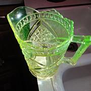 Green Vaseline green depression glass pitcher fancy one
