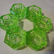 6 = Green Vaseline green  glass salt dips