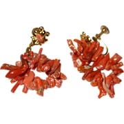 Branch Coral Screw-Back Earrings on Gold-Toned Metal