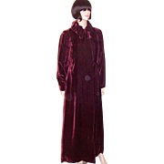 SALE Art Deco Plum Silk Velvet Evening Coat