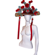 SALE Elaborately Decorated Chinese Theater Hat/Pom-Poms and Faux Pearls