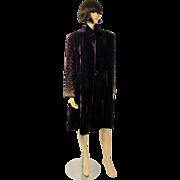 Extraordinary Plum Silk Velvet Coat with Brass Studded Sleeves