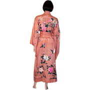 SOLD 1920's Japanese Apricot Silk, Hand-Embroidered Kimono with Sash
