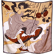 """SALE Large Silk Scarf-Girl Standing on a Swing, Designed by """"Ted Lapidus"""""""