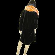 Sumptuous 1920's Black and Orange Silk Velvet Reversible Evening Coat