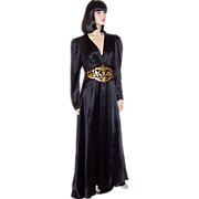 1940's Black Charmeuse Gown with Gold Leather Details