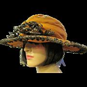 Edwardian (1901-1919) Orange Silk Embroidered Hat with Black Straw