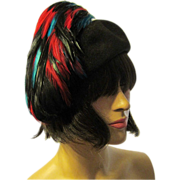 1950's Black Velour Hat Topped with Black, Turquoise, & Red Feathers