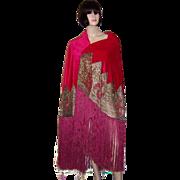 SALE 1920's Cerise-Colored Silk Velvet Shawl with Metallic Lace