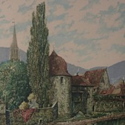 Pencil signed numbered aquatint print of Swiss historical landmark probably Carl Friedrick ...