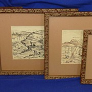 Four original mixed media drawings of arid desert landscapes