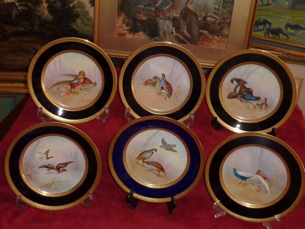Limoges M. Redon SIX plates cobalt blue hand painted wild birds all signed