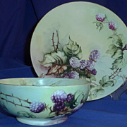 Set of two JP Limoges plate and bowl hand painted signed