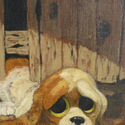 Dog art adorable big eye puppy oil painting 1960's