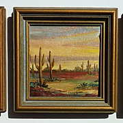 SOLD Three Verne California Laguna Beach artist miniature landscape  oil on canvas paintings