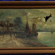 Late 19th century oil painting of a Dutch coastal village by listed artist L.Veerkamp