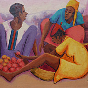 Colorful Haitian painting of women at a market