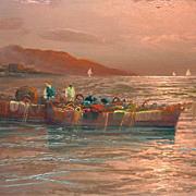 Italian art coastal landscape sunset scene oil painting signed