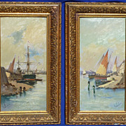 Pair oil on board paintings of harbors by important French artist Eugene Galien- Laloue ( 1854