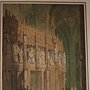 19th century watercolor painting of Chartres Cathedral interior in France