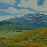 Oil on canvas California landscape painting dated 1942