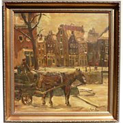 Impressionist street scene with a horse oil painting signed