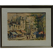 SOLD Paris Montmartre impressionist mid 20th century  French watercolor  painting  signed