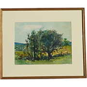 Aaron Berkman (1900- 1991) American listed artist impressionist watercolor landscape painting